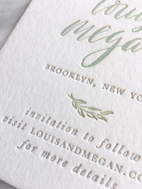 Three-color letterpress save the date