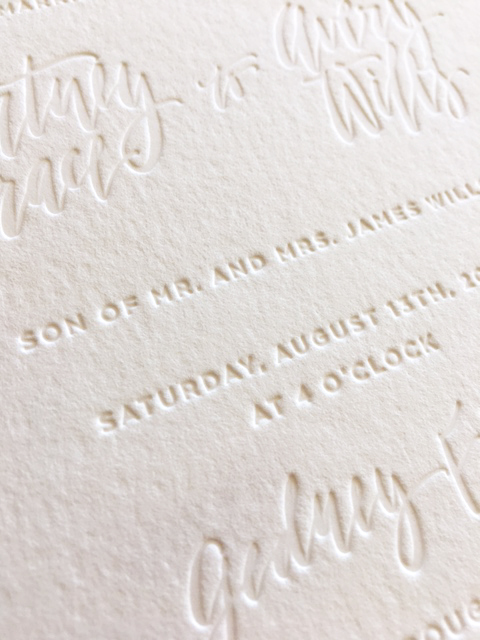 Blind debossed (inkless) invitation with handlettering