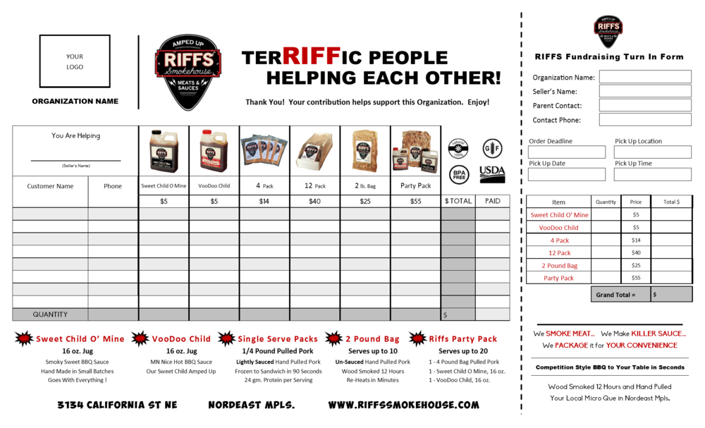 Riffs Smokehouse Fundraising Sales Sheet