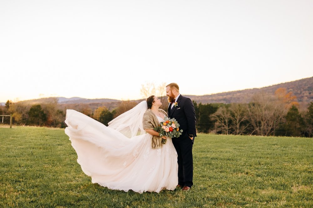 Bride_and_groom_in_field_in_front_of_mountain_at_wolftrap_farms_by_jonathan_and_hannah_photography