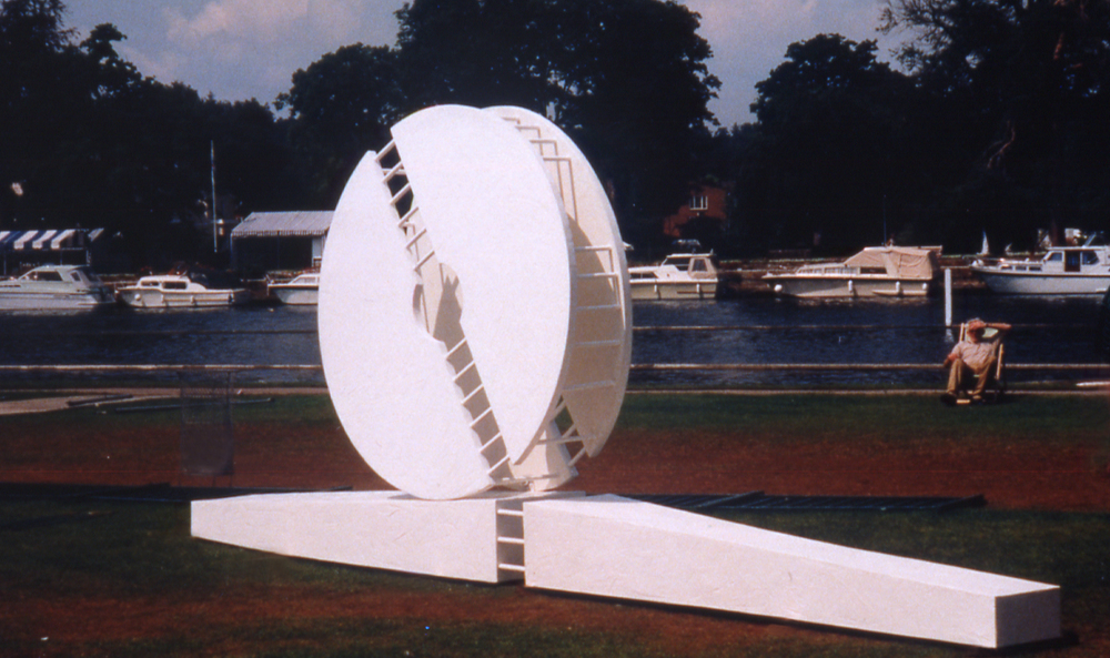 "1997 ""Untitled"" site specific sculpture, Henley on Thames, Oxfordshire."