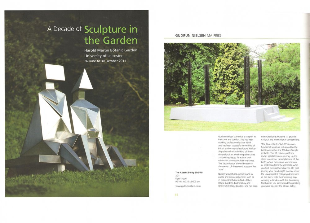 4 2011 A Decade of Sculpture in the Garden. University of Leicester Press ISBN 978-0-9564739-1-2 text by Aðalsteinn Ingólfsson p.54.jpg