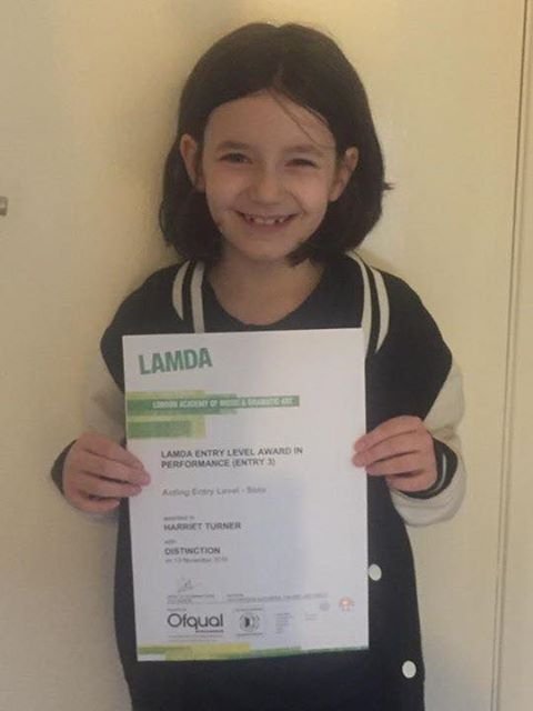 Harriet Turner with LAMDA distinction