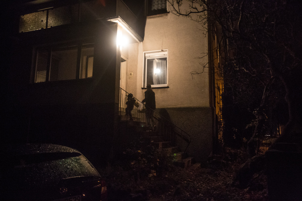 Some of the other residents of the apartment arrive late at night; many have family and friends in other places in Germany and visit them often.