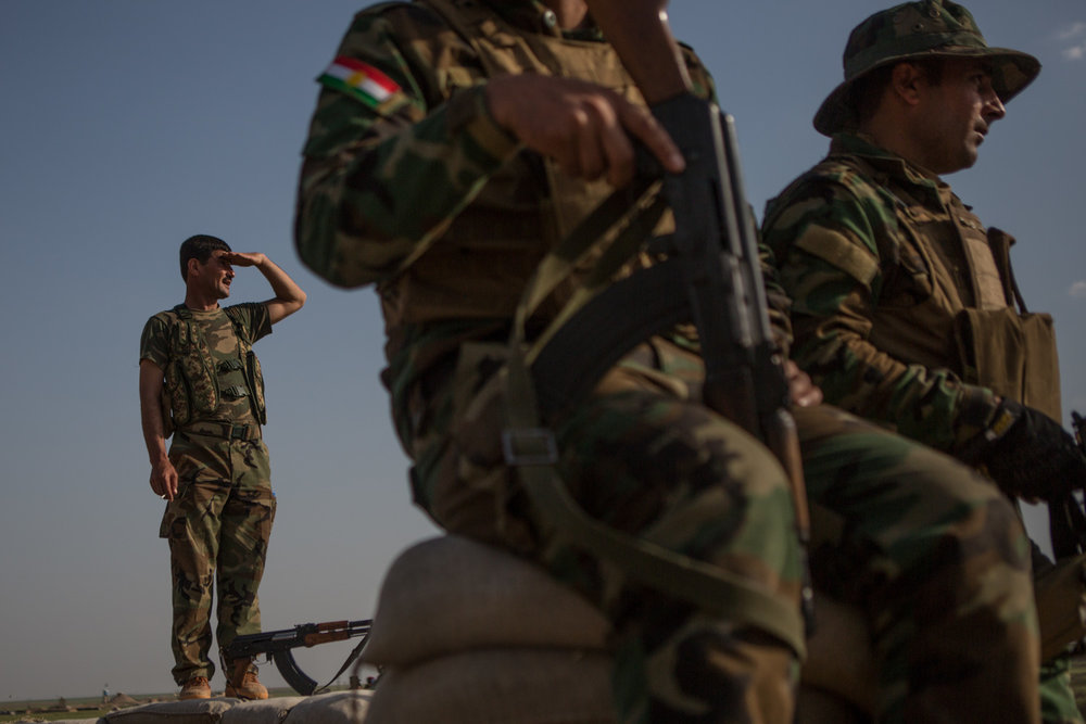 Kurdistan Iraqi Peshmerga have been holding the line in a support role according to commanders in the Makhmour frontline 75 km east of Mosul. April 8, 2015.