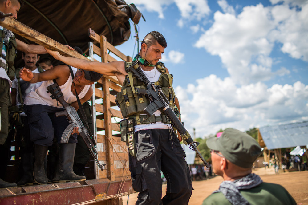 "FARC rebels from nearby camps arrive to the meeting area in ""El Diamante"" In the south Colombian Yari plains."
