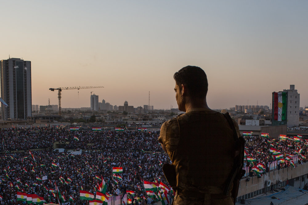 Thousand arrived to hear to president Barzani and other Kurdish officials prior to the date of the referendum vote.