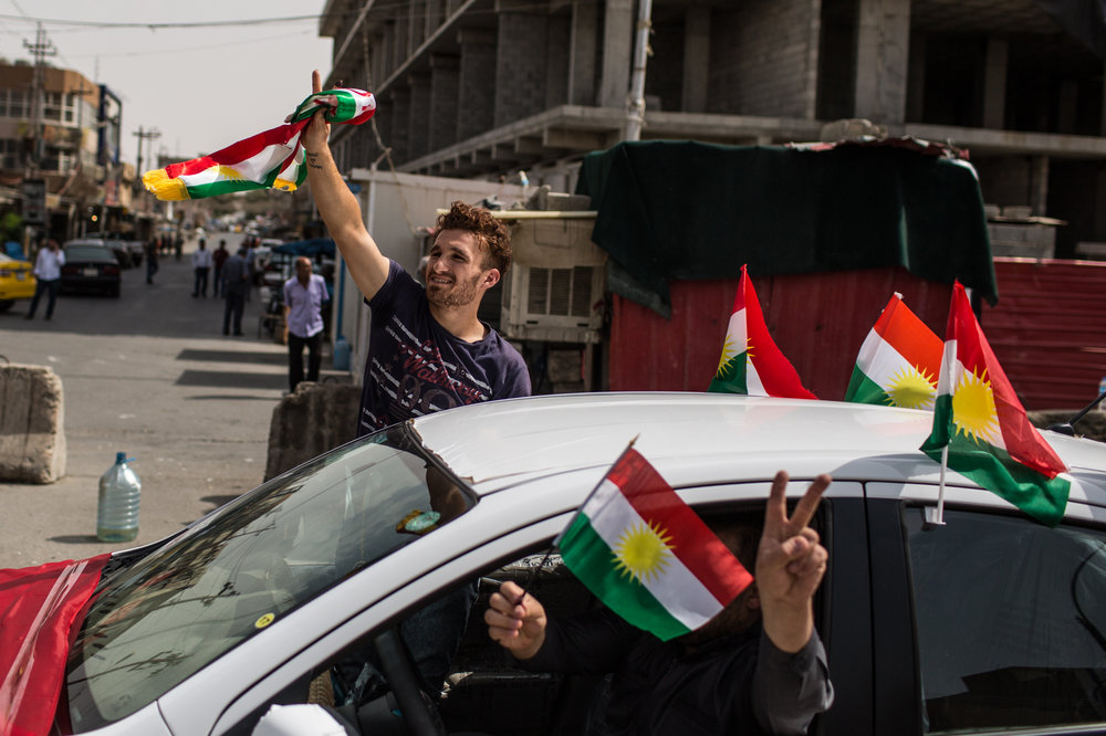 People went to the streets to celebrate the referendum vote in Kirkuk .