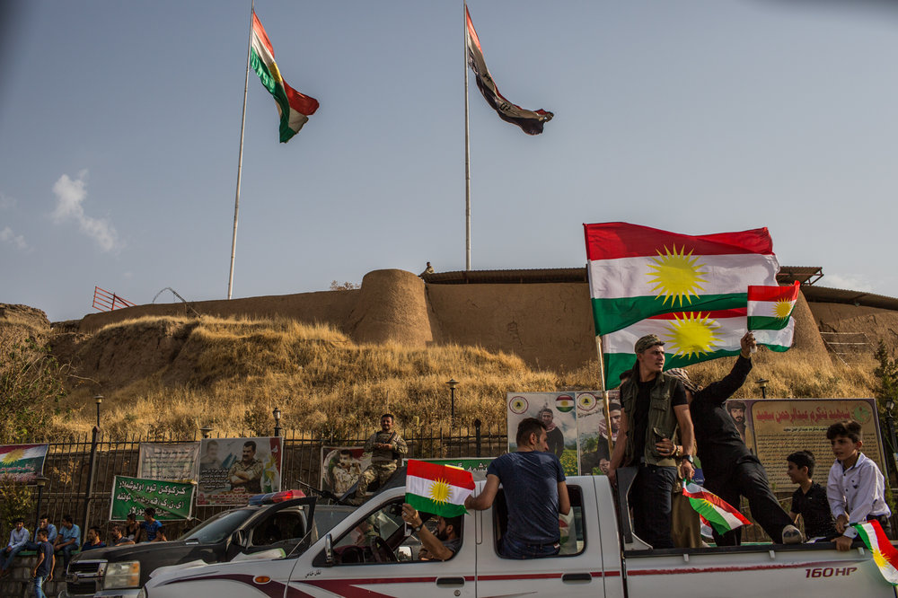 People gather in the citadel of Krikuk to celebrate the vote for the referendum of independence of Kurdistan in the contested city of Kirkuk Iraq.