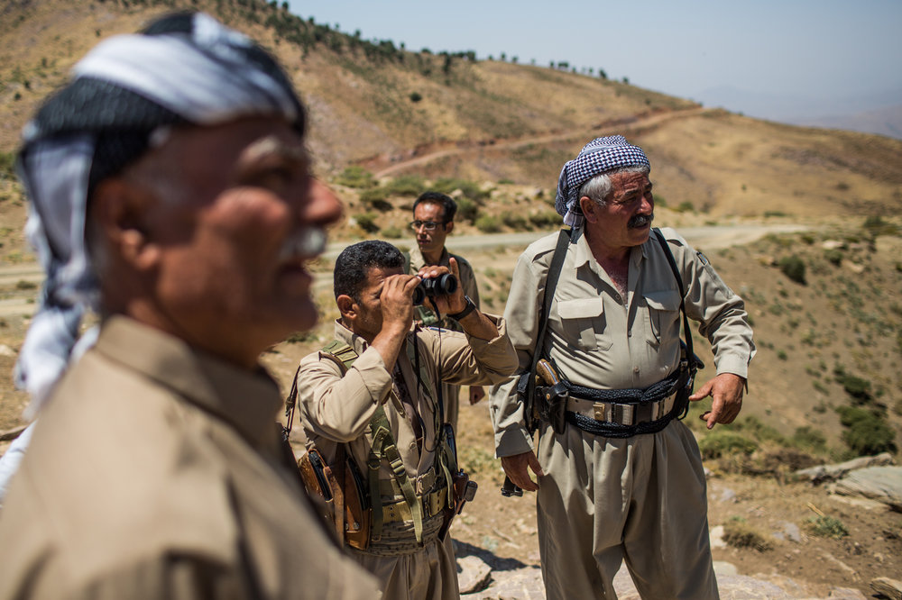 Commanders of KDPI watch Iranian revolutionary guard outpost at approximately 5 kilometers.