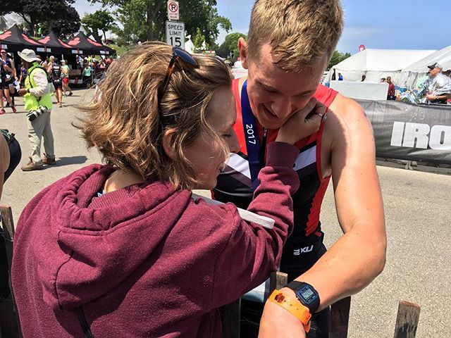 A Half Ironman finisher and his number one fan. 📷: @dmasek