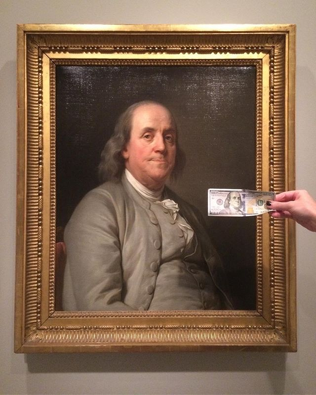When you're staring at Ben's portrait and realize @hautewinters has a hundy in her wallet 💸💰#bigmoney #dollabillz