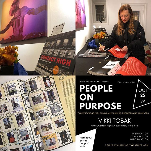 About to start!  @contacthigh book signing by @vikki_tobak & photographer @adamadelphine - #peopleonpurpose evening hosted by @mamasoulnyc @lamaisondartny #hiphop #harlemnights shoutout to my friend @tkid170 featured in the book!!❤️ If you are a Hop Hop lover ... U GOT TO GET THIS BOOK!!! #artgallery #hiphopculture #peopleonpurpose #lamaisondartny