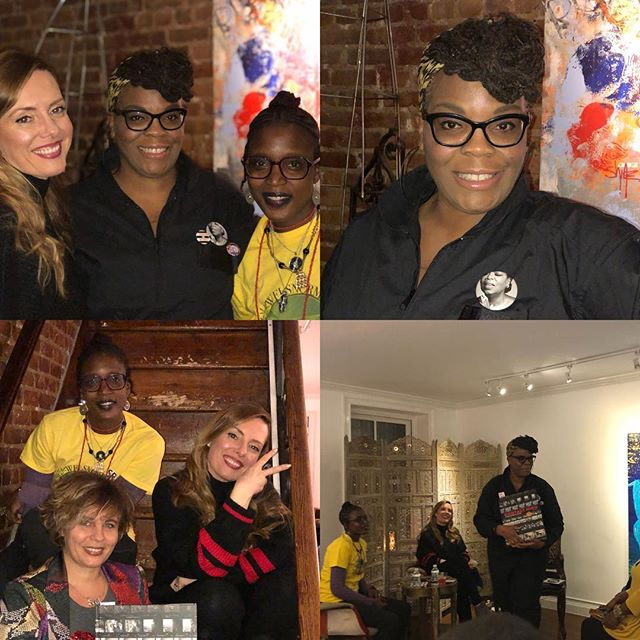 "Another ""Woaw"" evening @lamaisondartny - Monica @mamasoulnyc hosted #peopleonpurpose Part 2 with a FANTASTIC PANEL! @vikki_tobak author of a MUST Have book Contact High (available on Amazon) @contacthigh featuring photographer @adamadelphine and other great artists!  Great mixes by @bandsandbartenders - and a playlist to beat any TBT😂 #hiphopculture #artgallery #hiphop #harlemnights"