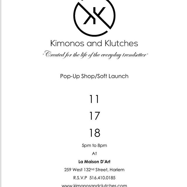 @kimonosandklutches pop up boutique happening right now until 8pm @lamaisondartny 259 west 132nd street between ACP/FDB - #artgallery #harlemgems #bookyourpopup #fashion #shoplocal #preholiday2018 #designer