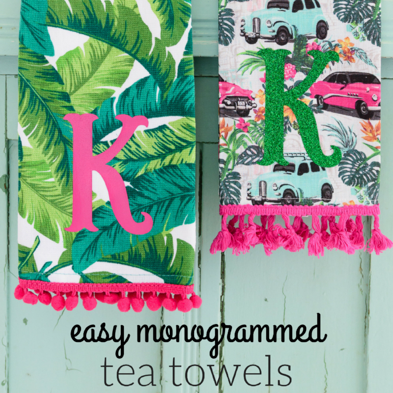 Easy Monogrammed Tea Towels