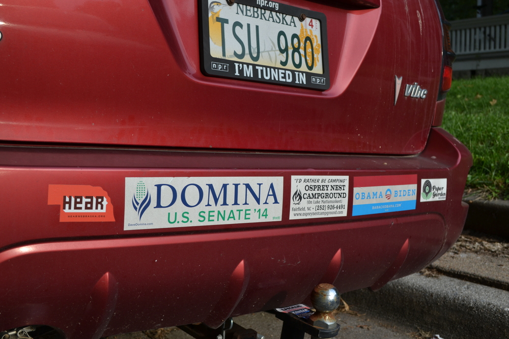 2005 Pontiac Vibe. Not the most comforting set of bumper stickers when you're driving through rural Nebraska.