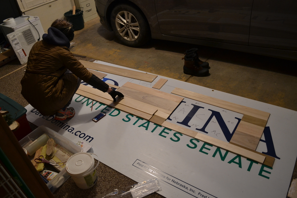 In addition to providing former Nebraska U.S. Senate candidate Dave Domina free advertising, we mapped out a replica of the backsplash to make the project easier to visualize.