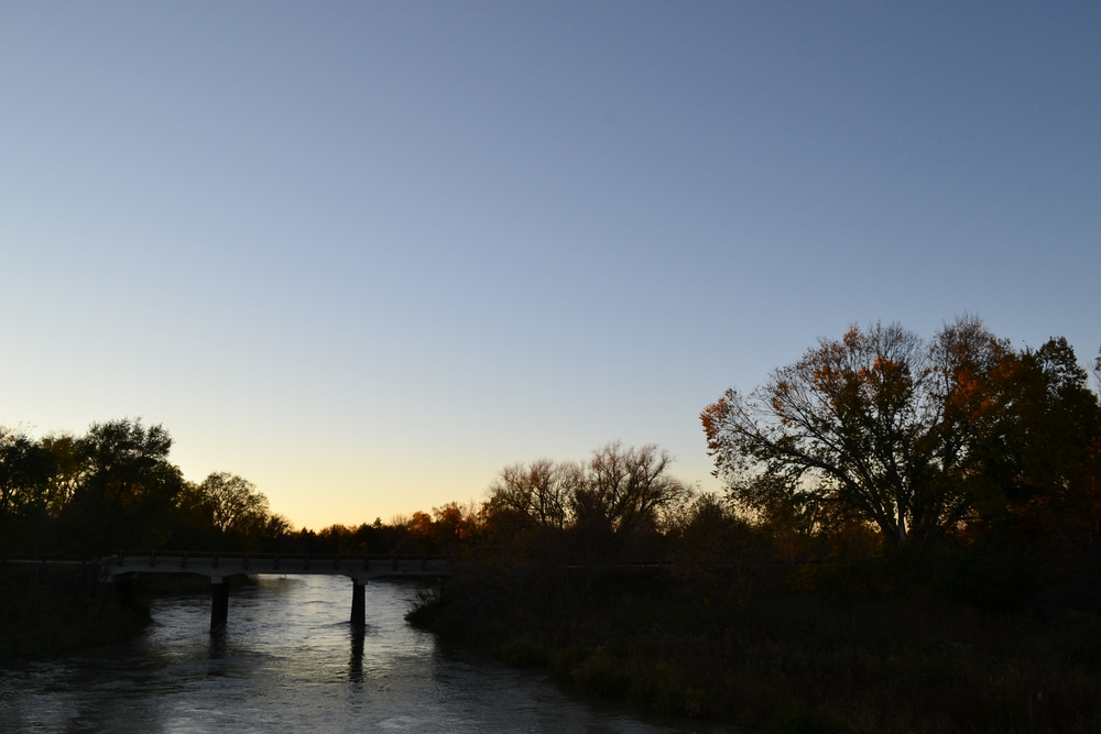 Bridge over the Middle Loup River at sunset.