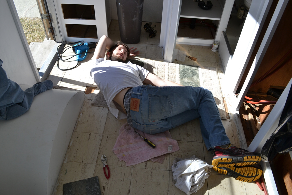 Plumbing is hard work. Excuse me while I nap in this awkward position.