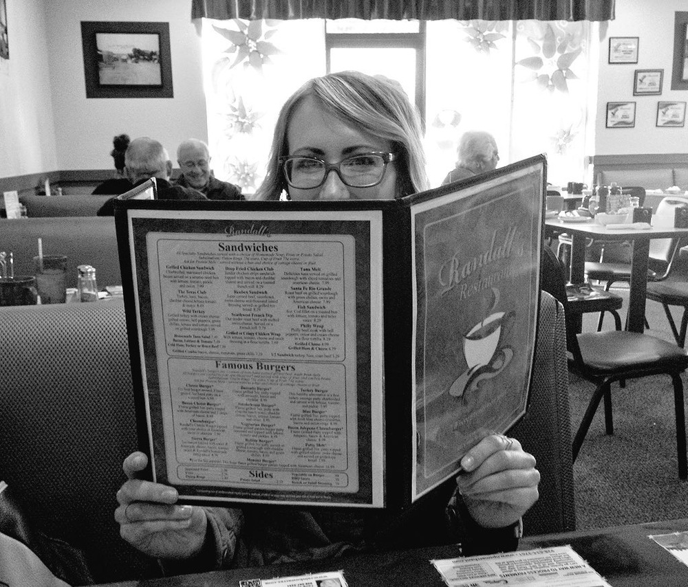 Mel dines at Randall's Restaurant.
