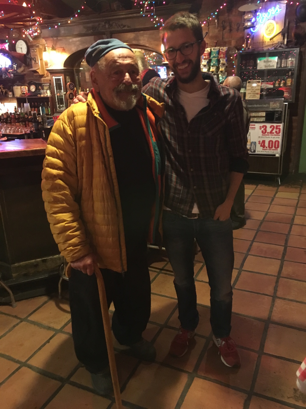 Quick shot with Jim Harrison before he departs the Wagon Wheel Saloon.