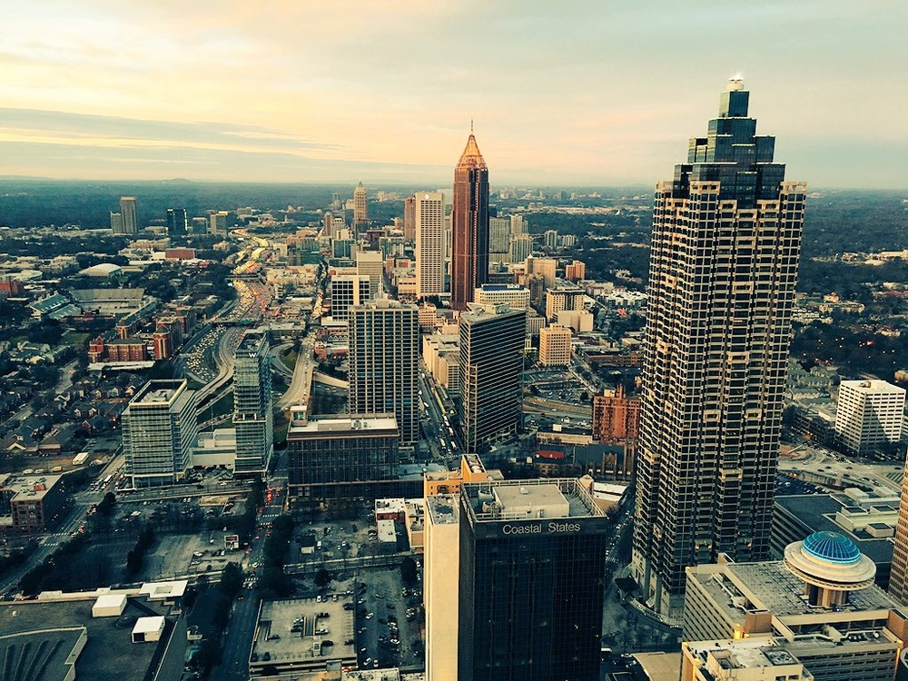 The Atlanta skyline, taken from the top of the Sun Dial.