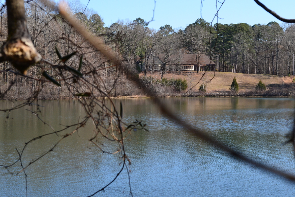 A view of the lodge at Wall Doxey State Park from across the lake.