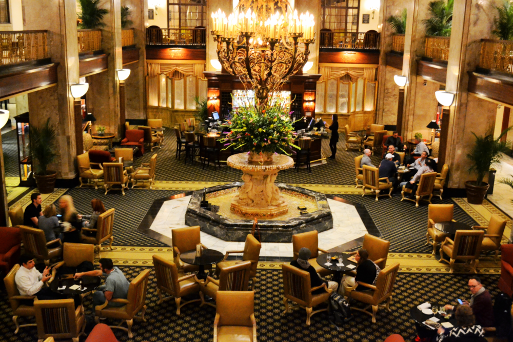 The lobby of the Peabody Hotel.