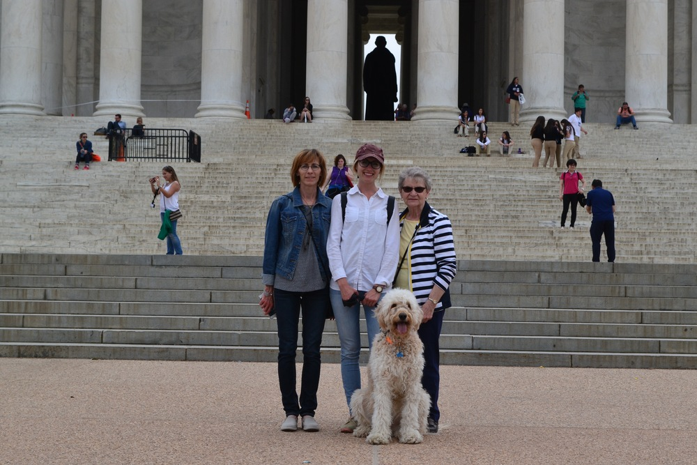 From L to R: Cindy Dohmen (Mel's Mom!), Mel, Costello, Berdeen Joyce (Mel's Grandma!). At the steps of the Jefferson Memorial.