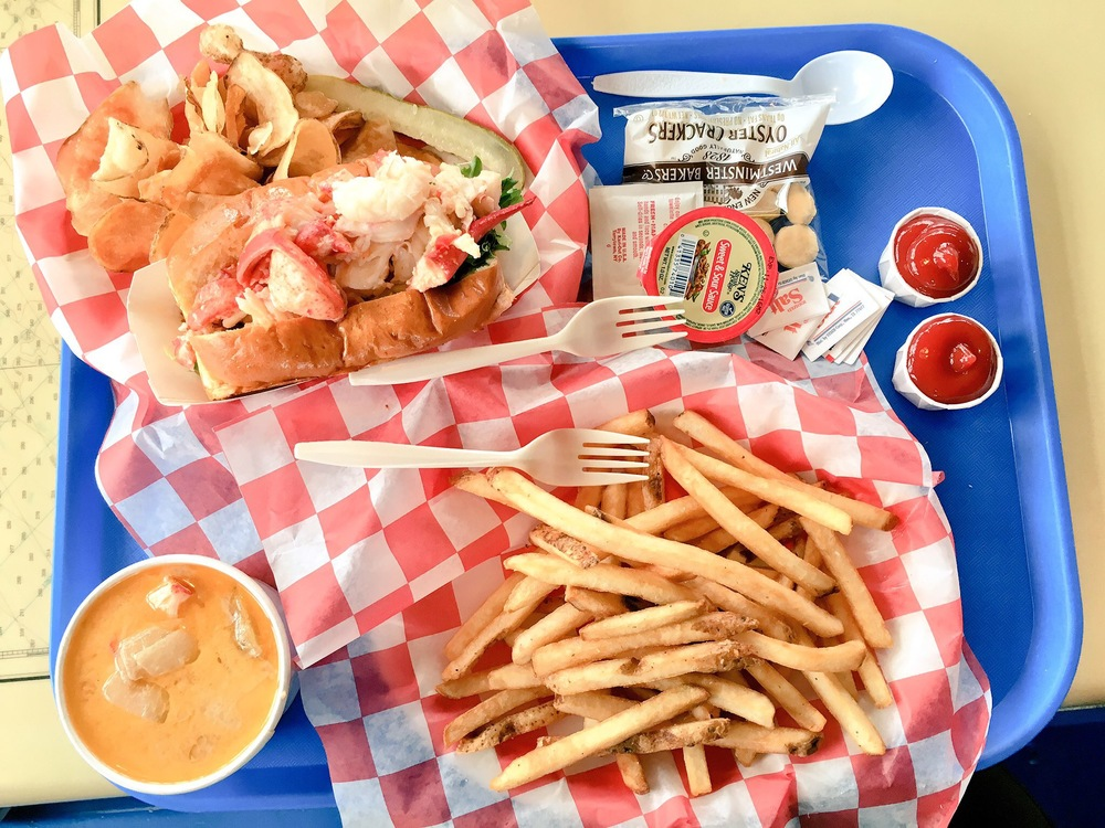 We ended out the month with our first lobster of the trip! A lobster roll, lobster stew and fries from Beal's Lobster Pier.