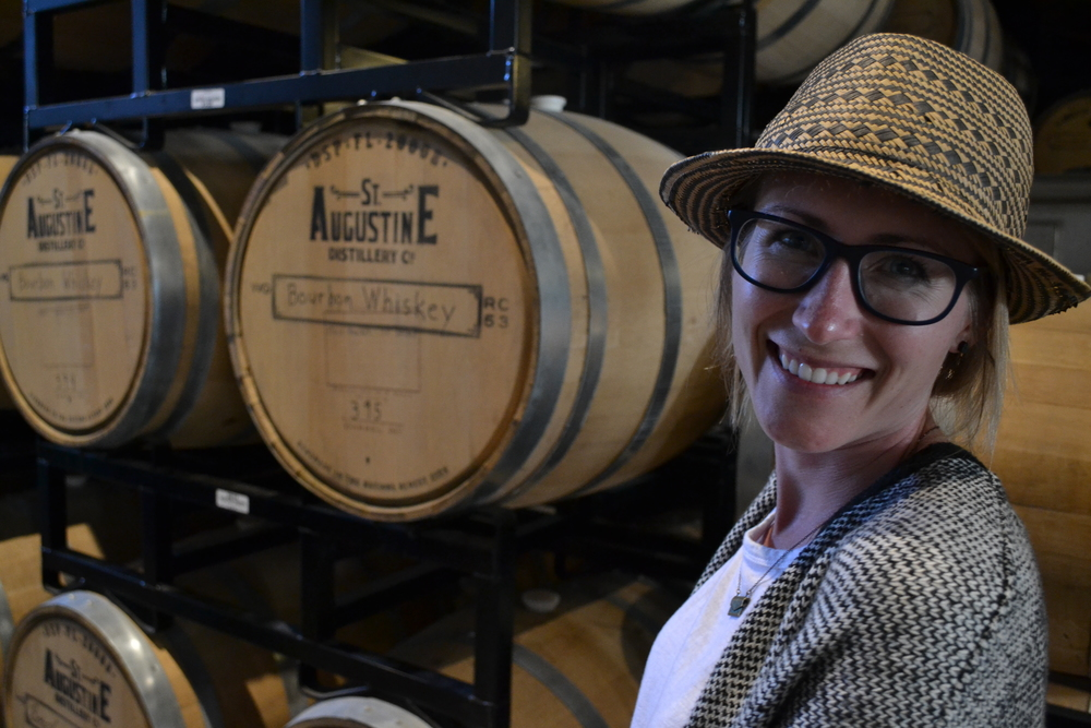 Mel can smile near the whiskey barrels, but she cannot touch them.