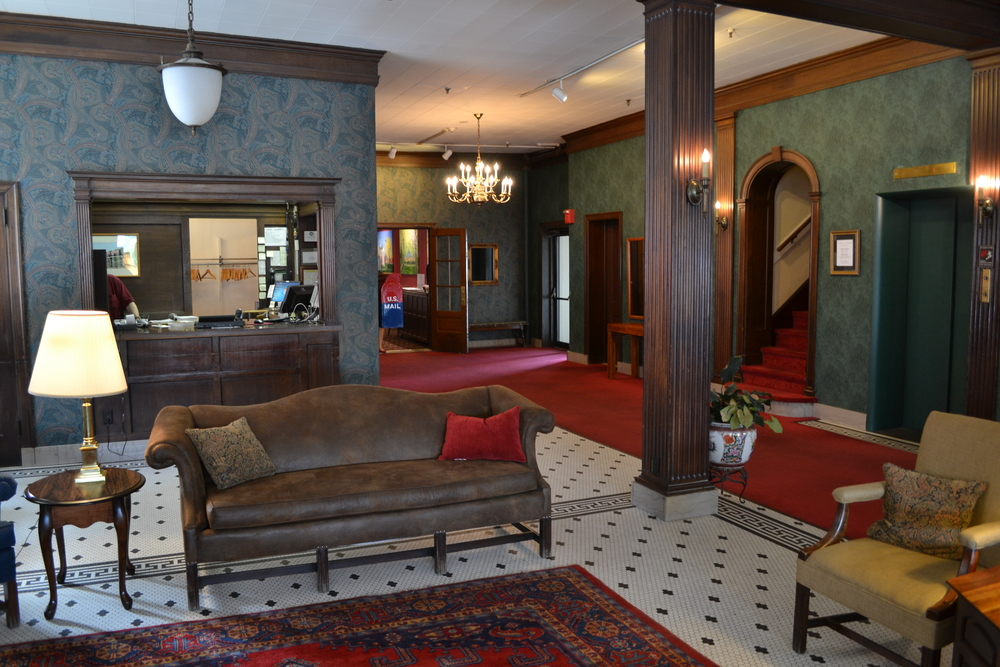 The lobby at the Penn Wells hotel in Wellsboro.