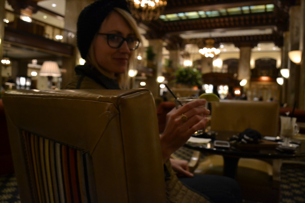Enjoying a drink in the lobby of The Peabody.