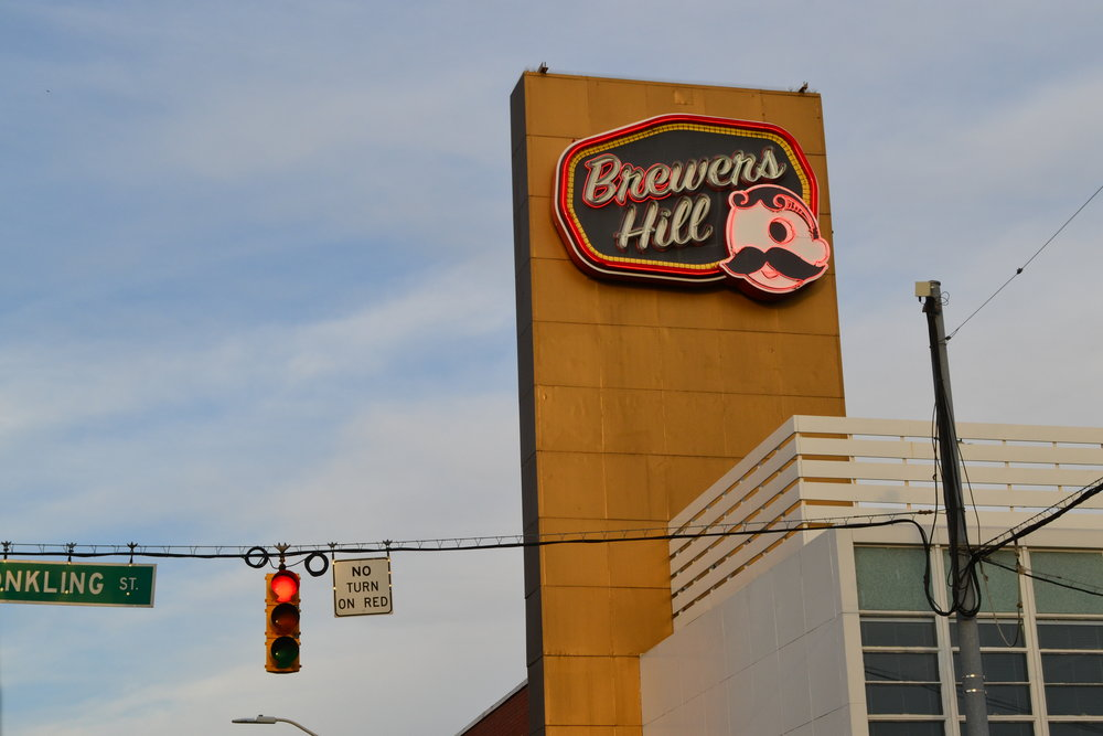 The Natty Bohemian sign on Brewers Hill.