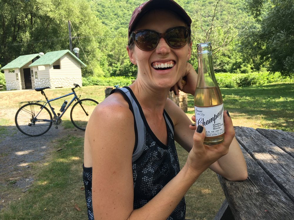 I took a break from our 30+ mile ride to enjoy PA's finest Champayno.
