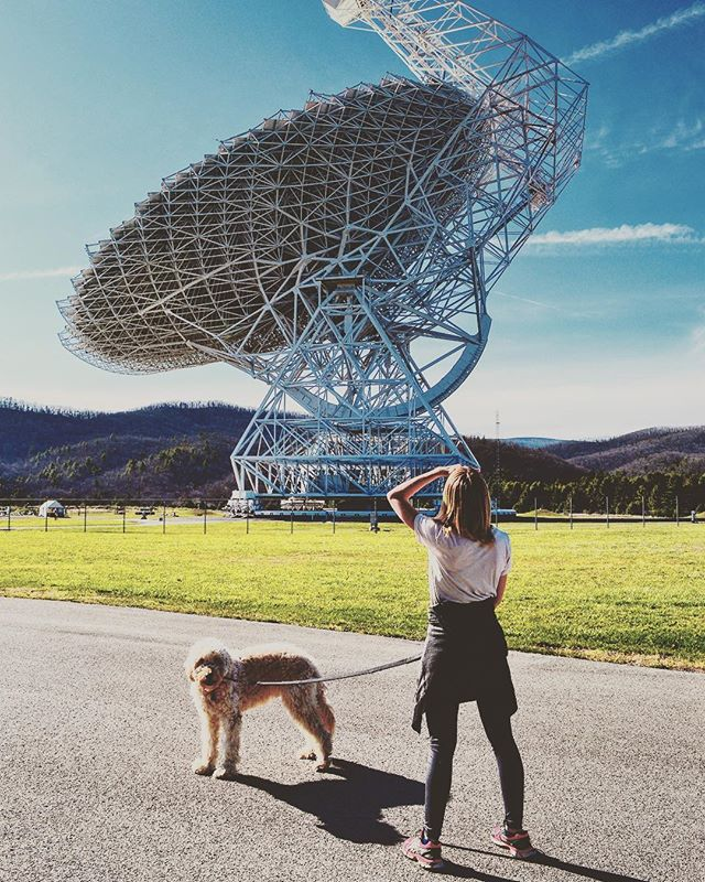 Throwback to last April, when Local Color XC took an afternoon pitstop at the National Radio Astronomy Observatory in West Virginia.  That massive structure behind Mel and Costello is the Robert C. Byrd Green Bank Telescope, the world's largest fully steerable radio telescope.