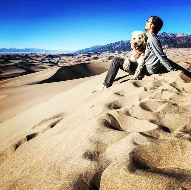 Everyday was #takeyourdogtoworkday on the road. Missing moments like this at #greatsanddunesnationalpark where miles of staggering sand dunes wore out even the most tenacious among us (aka Costello).