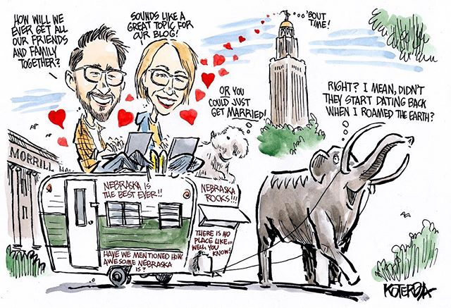 We recently got hitched IRL, and of course couldn't resist featuring our beloved trailer, Elsie, in our invites.  Many thanks to the v. talented editorial cartoonist @jeffkoterba for this on-the-nose illustration. And if you're from #nebraska, you probably recognize a few of the landmarks. (We were married at the Capitol and our reception was at @morrillhallunl)