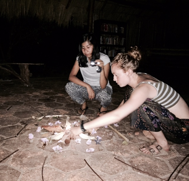 Sophia and Nancy building a mandala to end our yoga retreat
