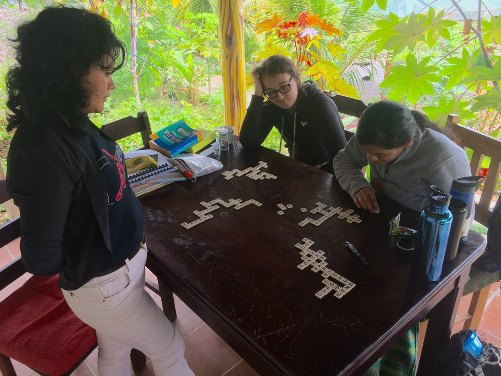 Spanish Bananagrams with Syd, Hillary, and their teacher, Mayra.