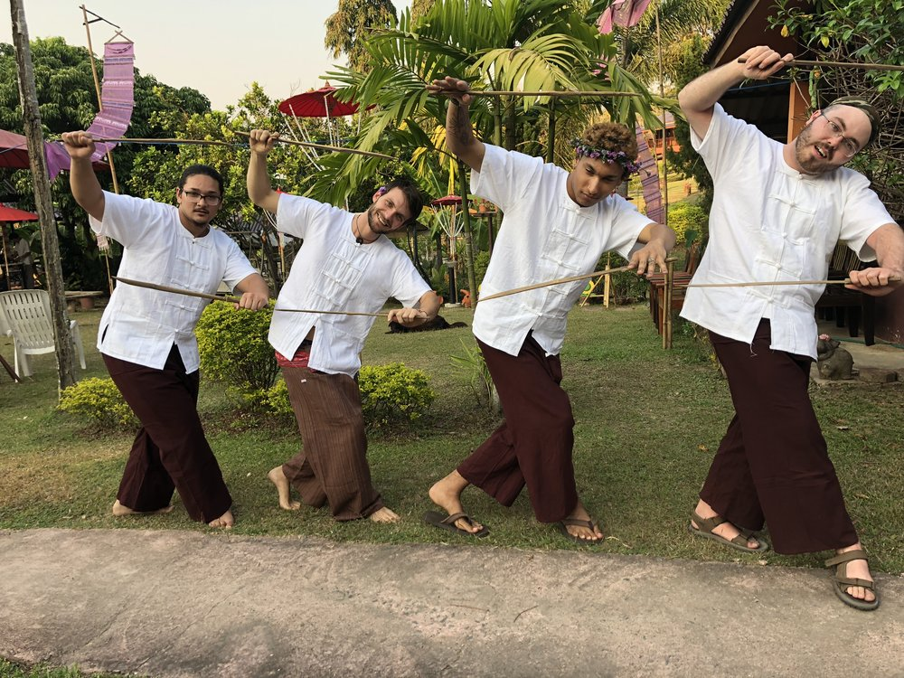 Hathai boys show off their sword dance moves