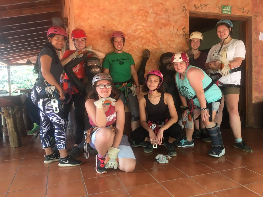 The group is ready to go zip lining!