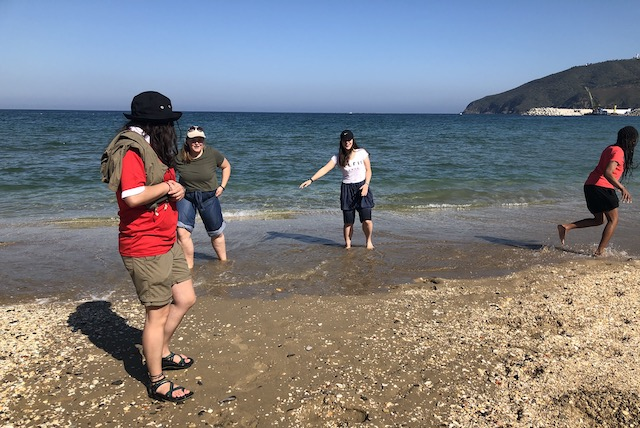 Getting our feet wet in the Mediterranean.