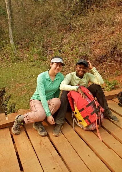 Jess and Annie taking a break during trekking
