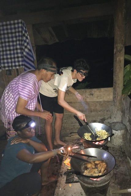 Preparing dinner with Suzin the trekking guide.