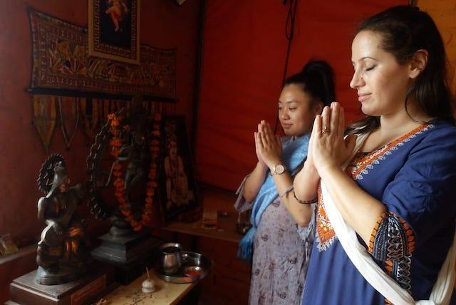 Rebecca and Kari doing Pranam before Kathak dance.