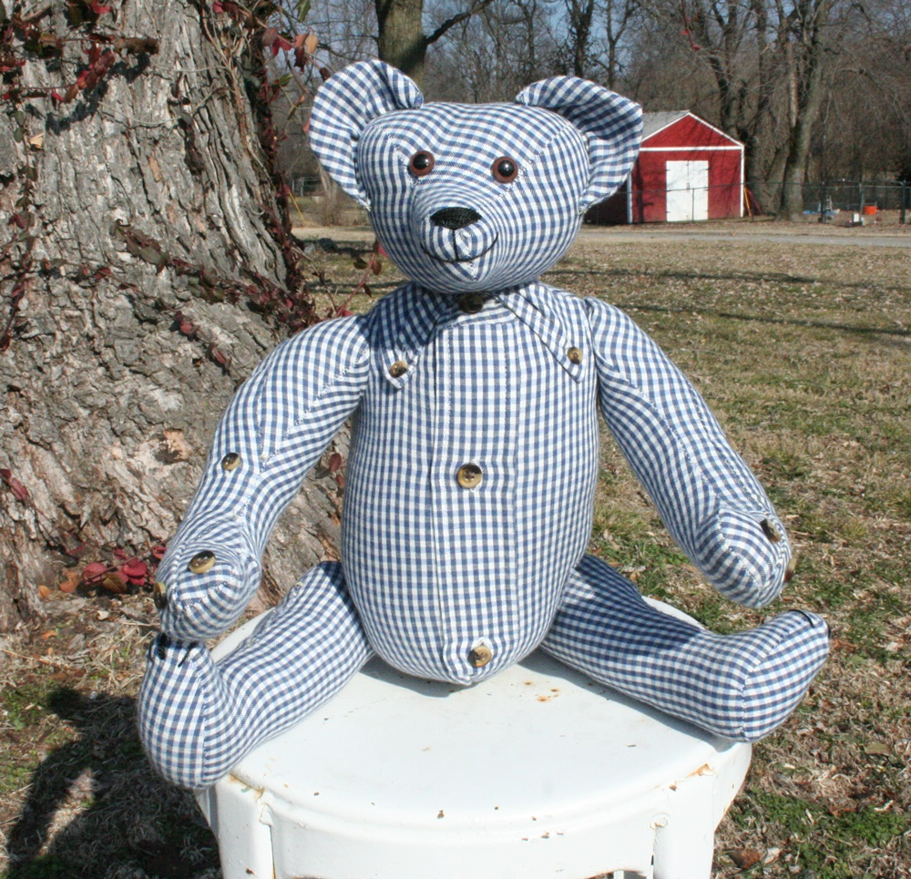 bear made from a vintage shirt