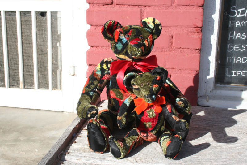 custom order bears made from a vintage vest