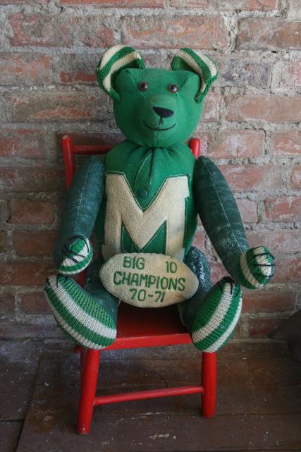 """Old Green."" My own HS letter jacket from 1973 and the first letter jacket bear we ever created."